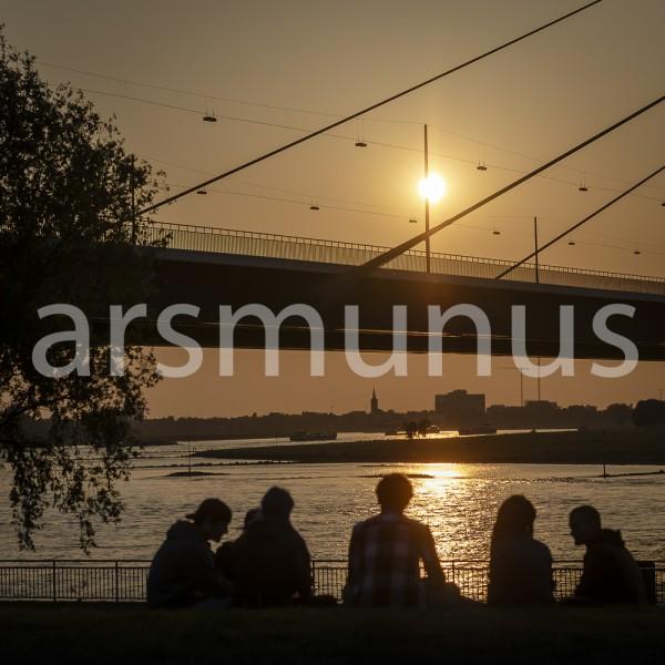 Abendstimmung Gruppe am Rhein vor Düsseldorfer Rheinbrücke