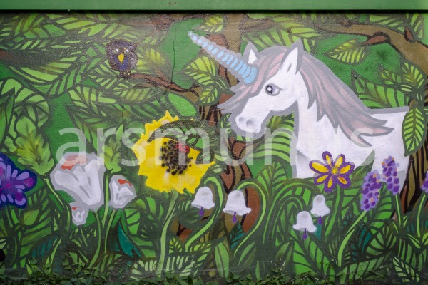 Einhorn - naive Mauermalerei